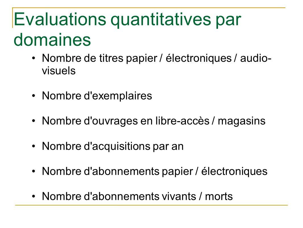 Evaluations quantitatives par domaines