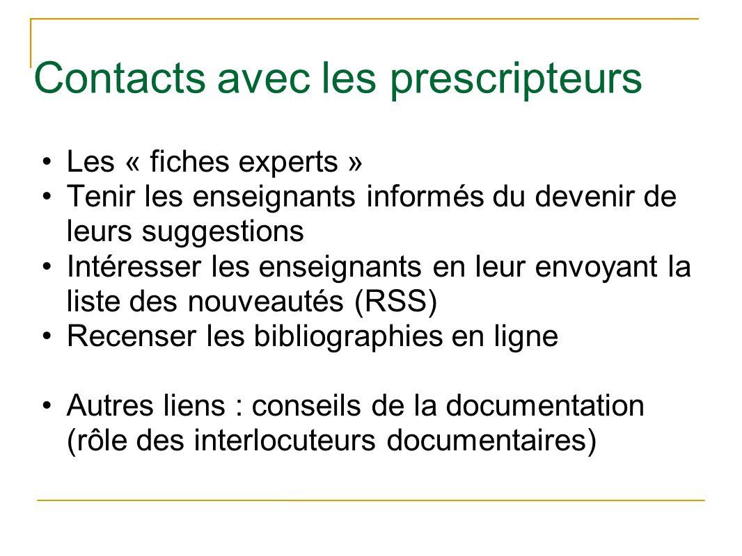 Contacts avec les prescripteurs