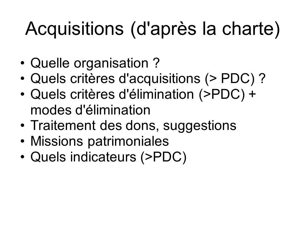 Acquisitions (d après la charte)