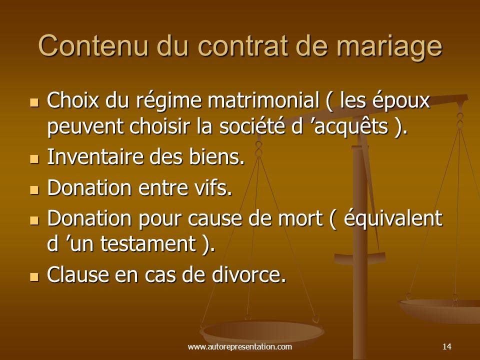 Contenu du contrat de mariage