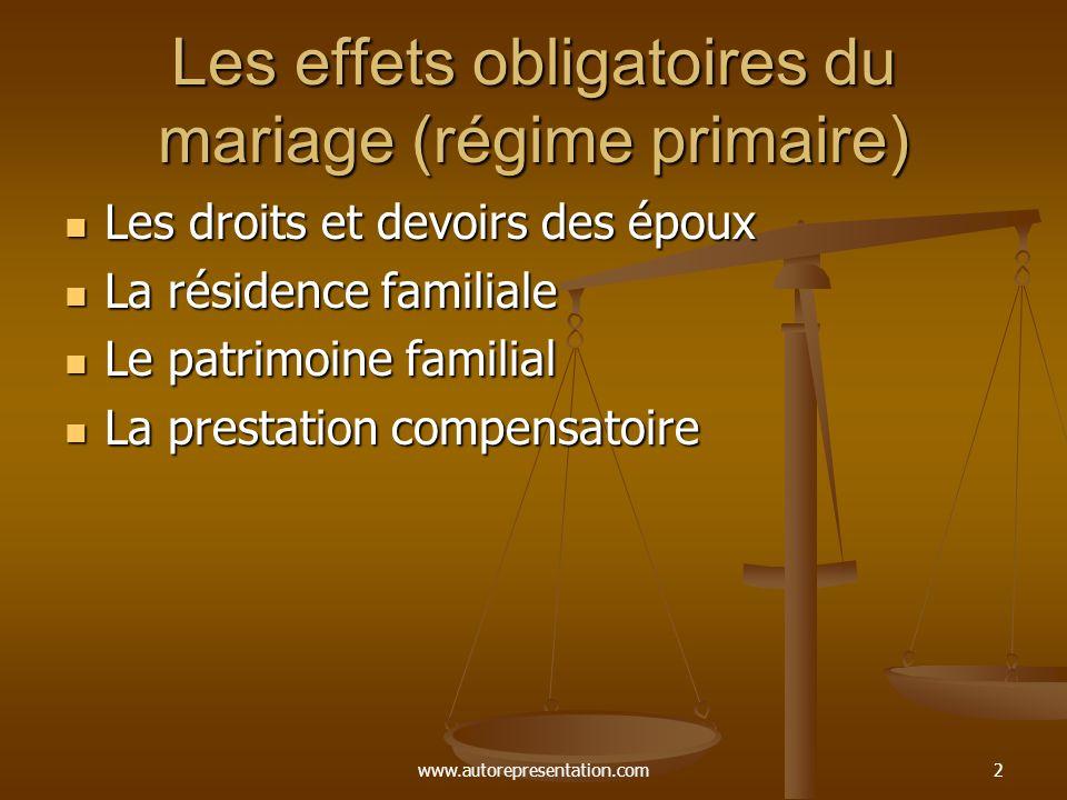 Les effets obligatoires du mariage (régime primaire)
