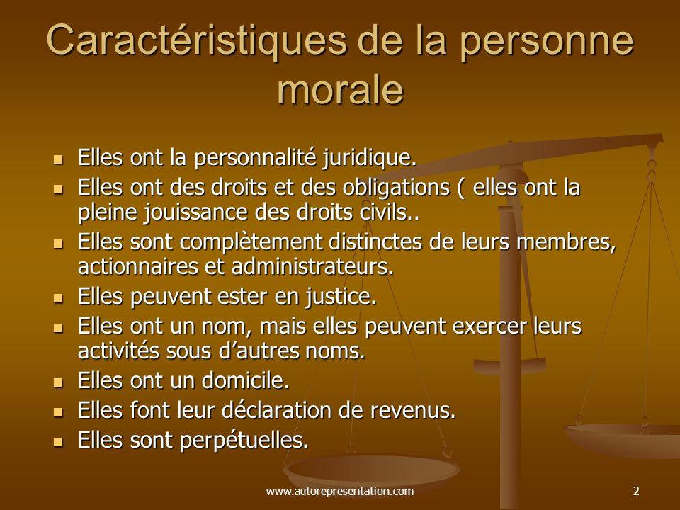 Caractéristiques de la personne morale