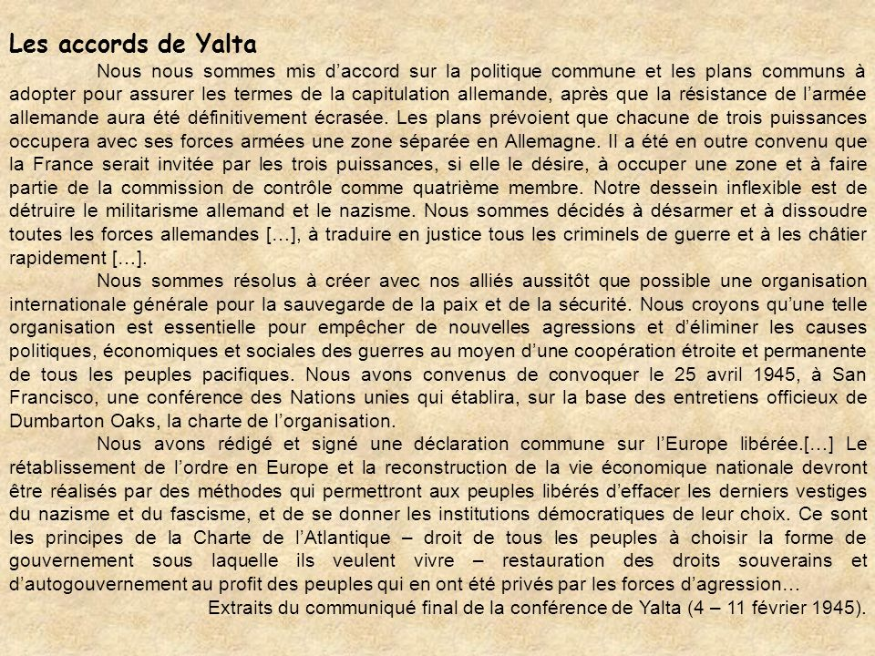 Les accords de Yalta