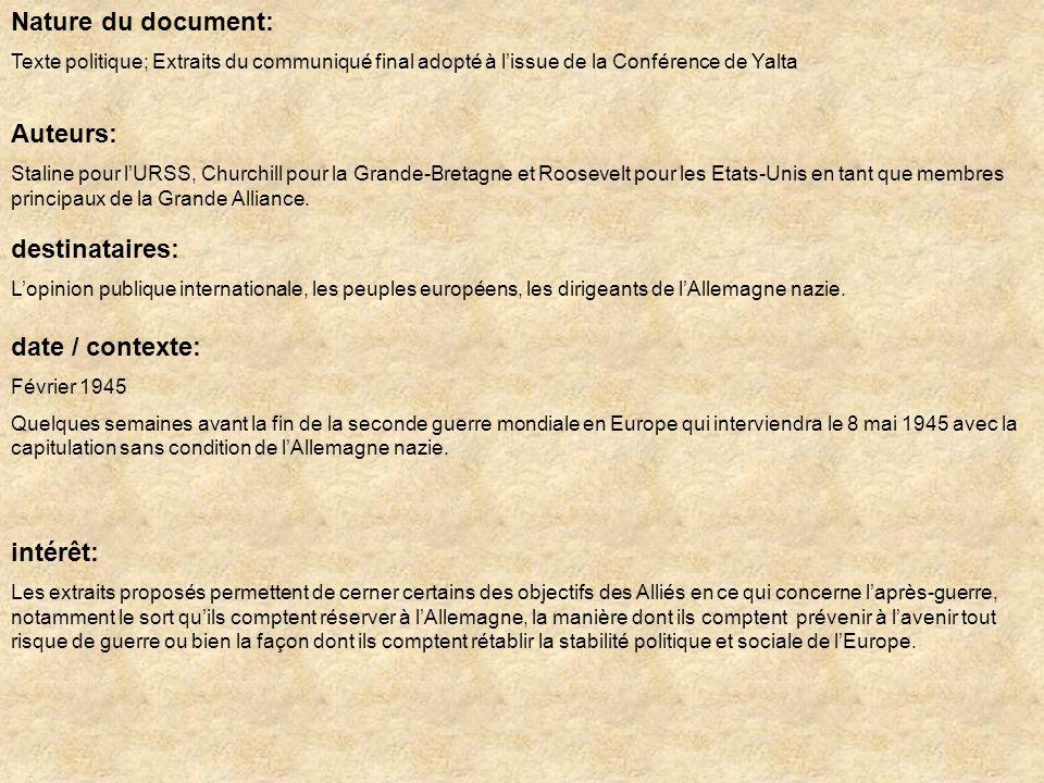 Nature du document: Auteurs: destinataires: date / contexte: intérêt: