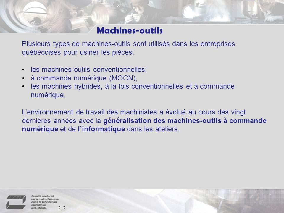 Machines-outils Plusieurs types de machines-outils sont utilisés dans les entreprises québécoises pour usiner les pièces: