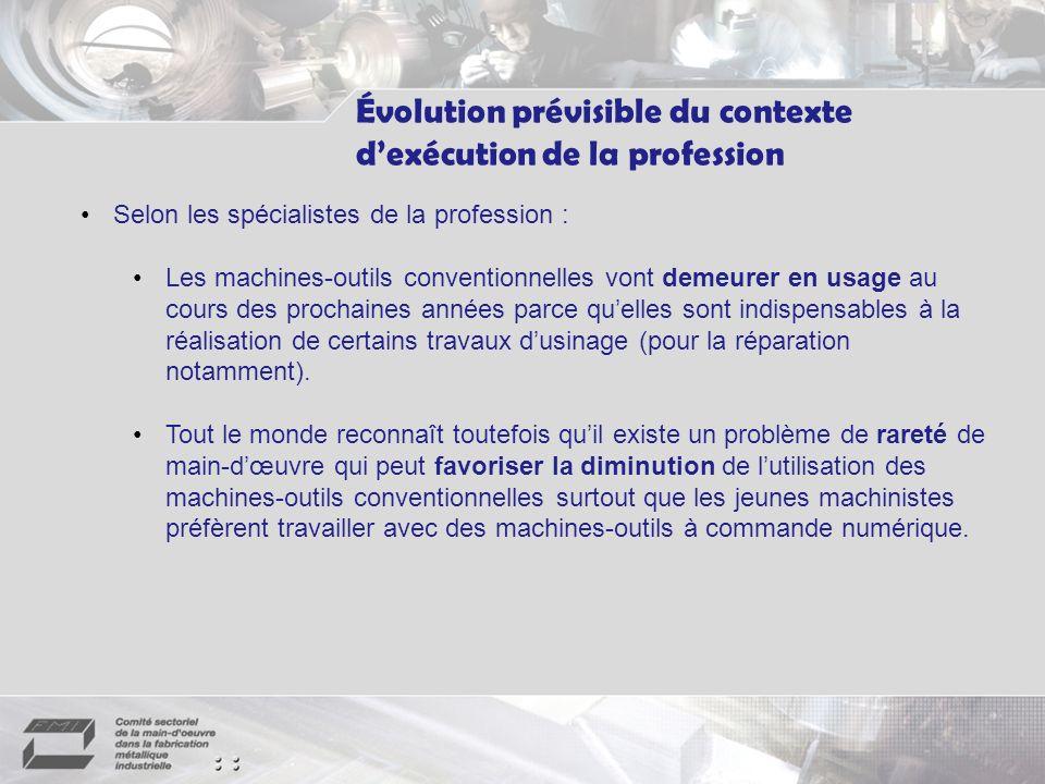 Évolution prévisible du contexte d'exécution de la profession