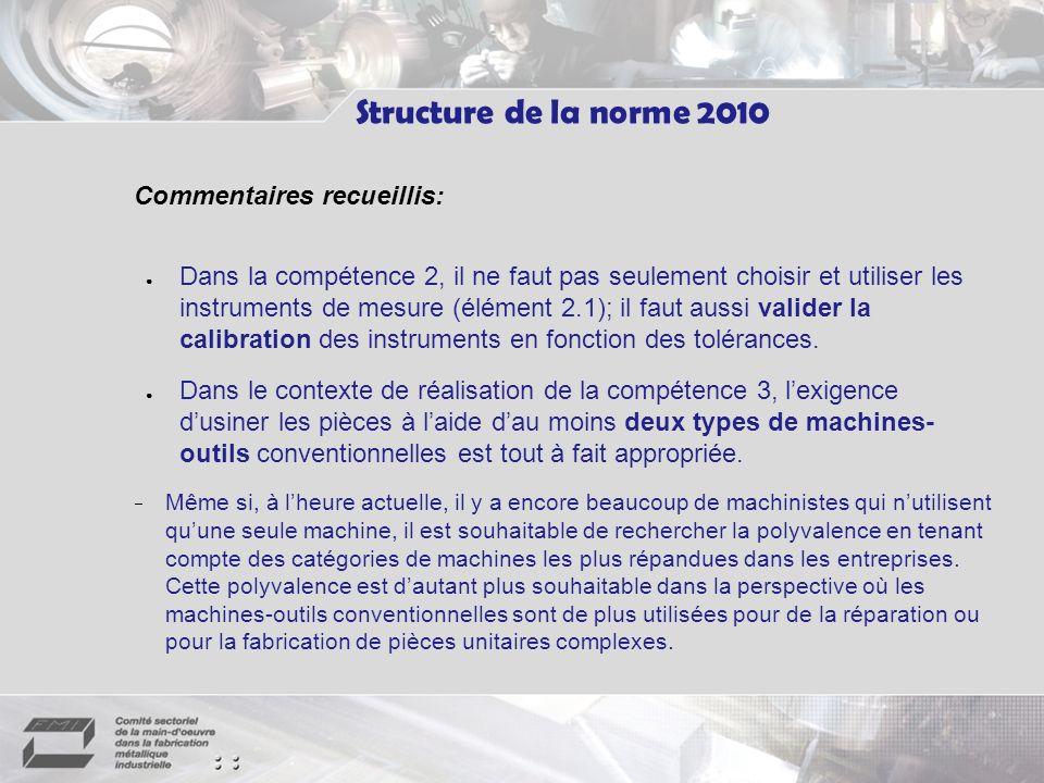 Structure de la norme 2010 Commentaires recueillis:
