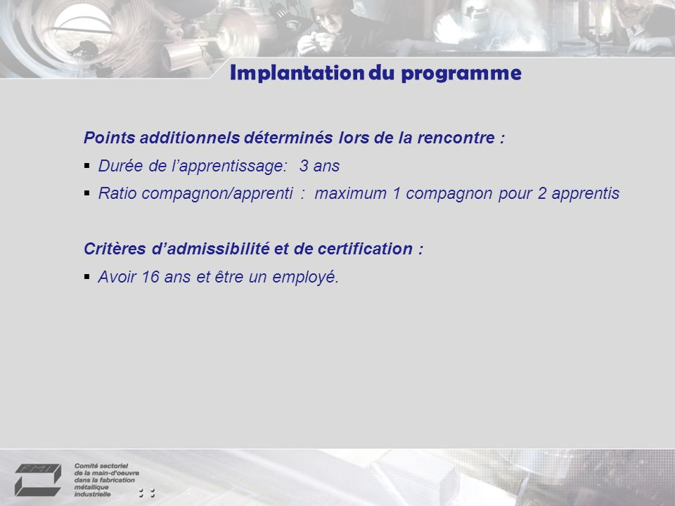 Implantation du programme