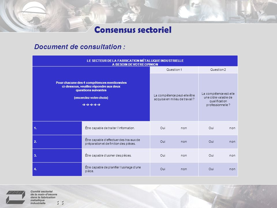 Consensus sectoriel Document de consultation :