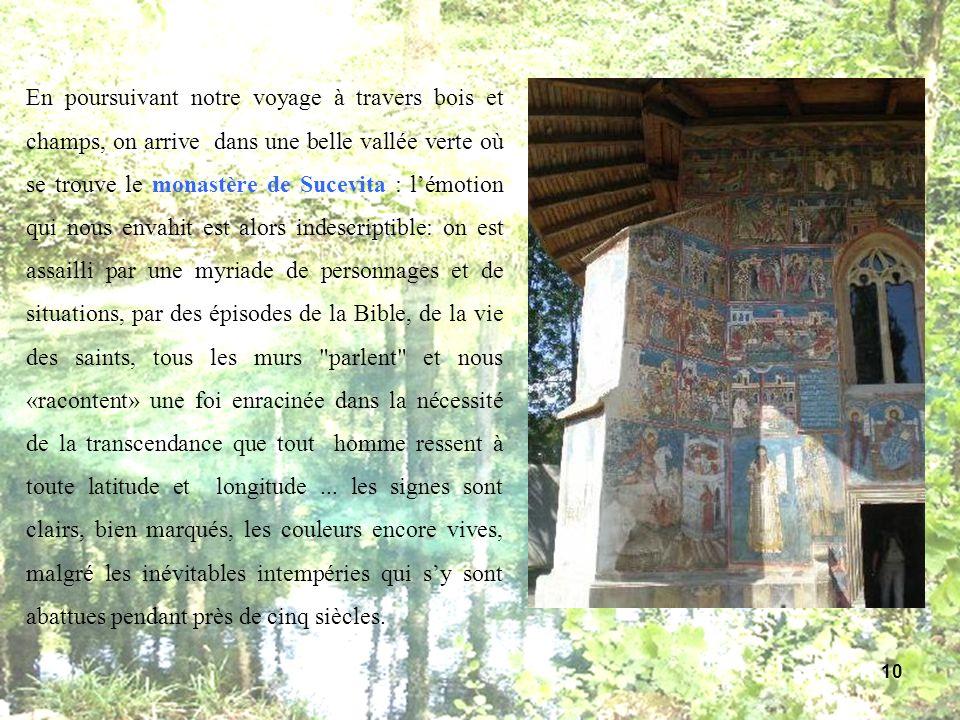 En poursuivant notre voyage à travers bois et champs, on arrive dans une belle vallée verte où se trouve le monastère de Sucevita : l'émotion qui nous envahit est alors indescriptible: on est assailli par une myriade de personnages et de situations, par des épisodes de la Bible, de la vie des saints, tous les murs parlent et nous «racontent» une foi enracinée dans la nécessité de la transcendance que tout homme ressent à toute latitude et longitude ...