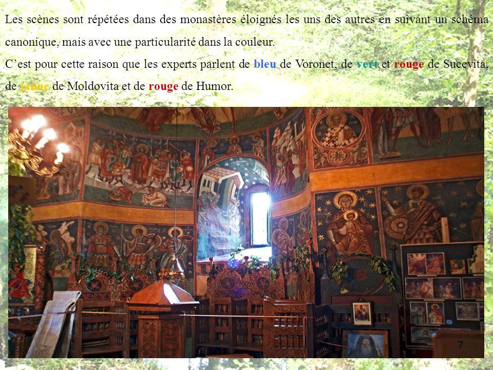 Les scènes sont répétées dans des monastères éloignés les uns des autres en suivant un schéma canonique, mais avec une particularité dans la couleur.