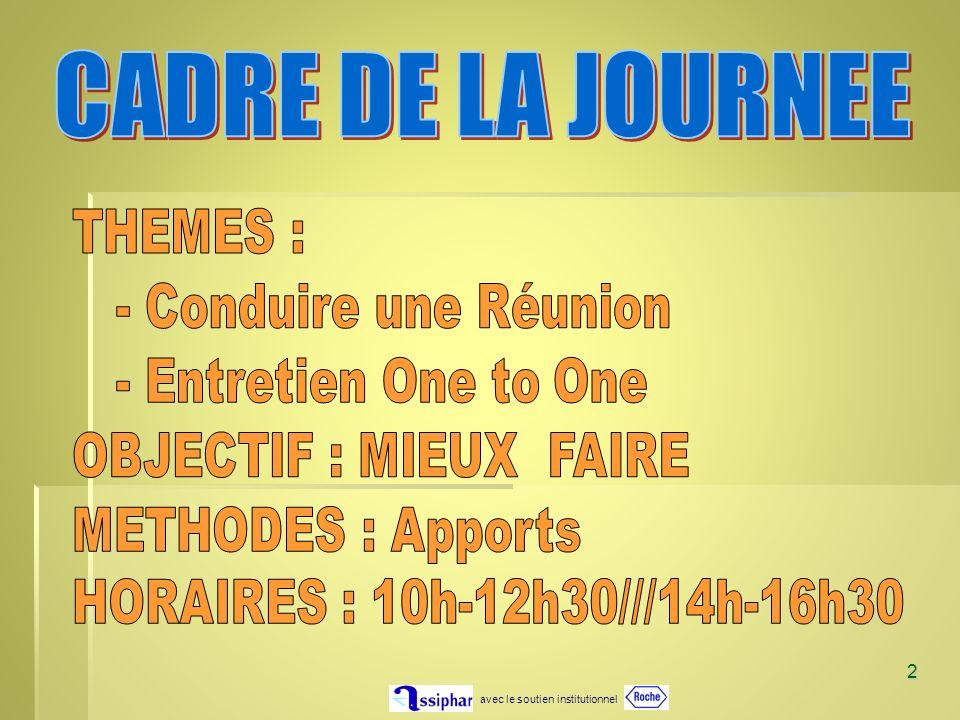 CADRE DE LA JOURNEE THEMES : - Conduire une Réunion