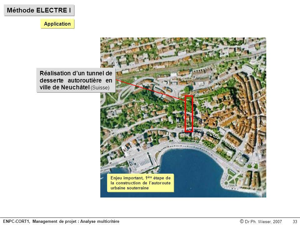 Méthode ELECTRE I Application. Réalisation d'un tunnel de desserte autoroutière en ville de Neuchâtel (Suisse)