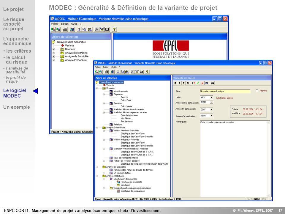 MODEC : Généralité & Définition de la variante de projet
