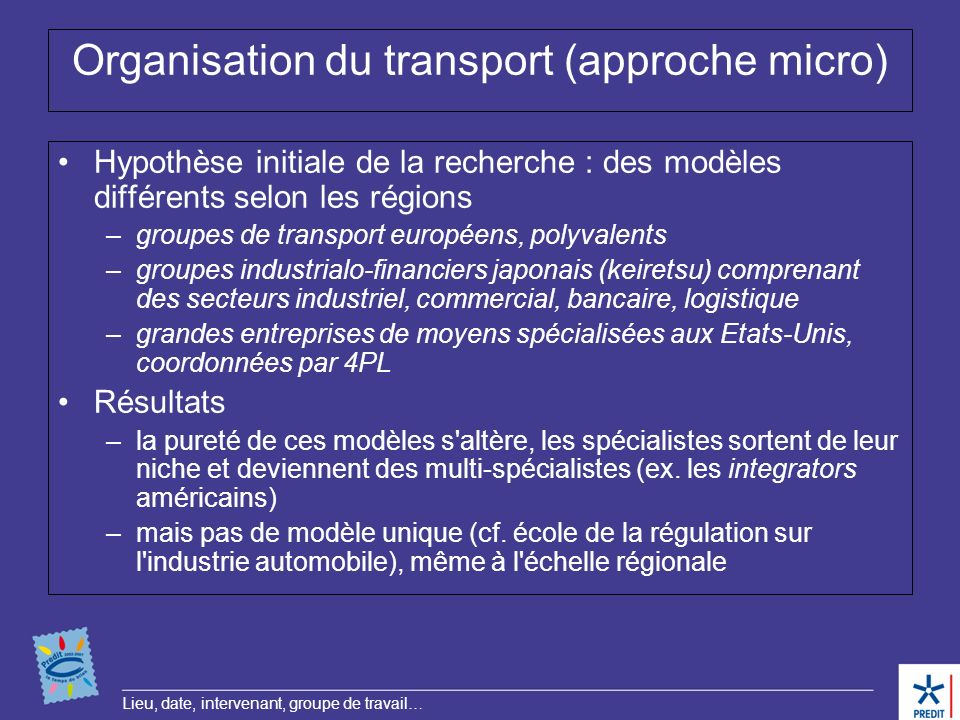 Organisation du transport (approche micro)
