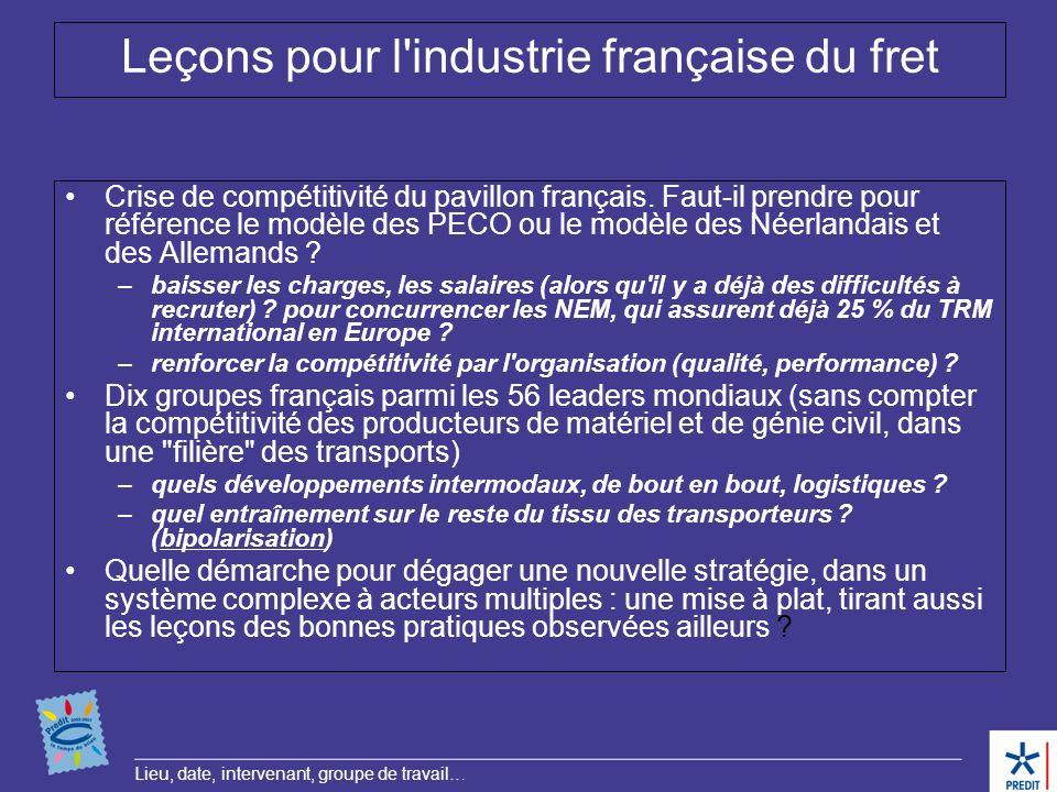 Leçons pour l industrie française du fret