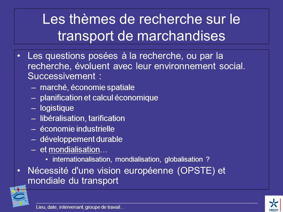 Les thèmes de recherche sur le transport de marchandises