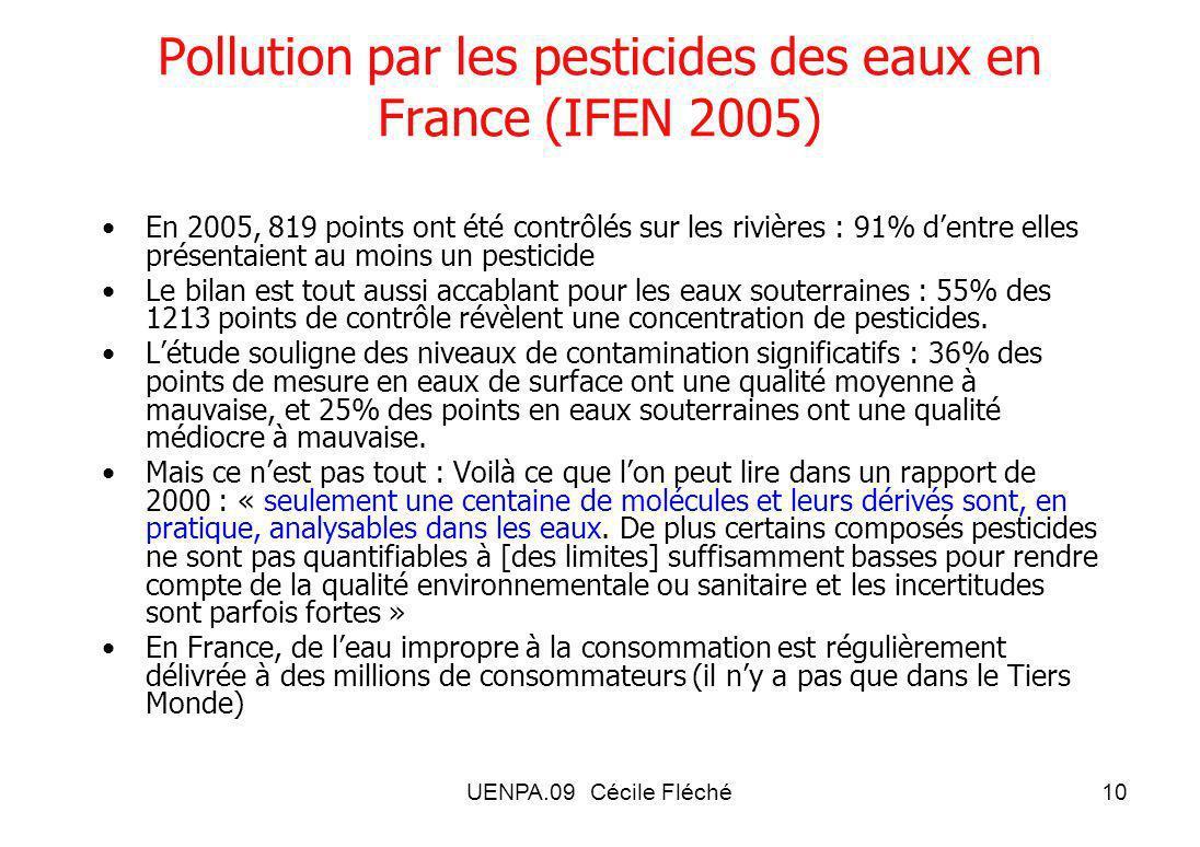 Pollution par les pesticides des eaux en France (IFEN 2005)