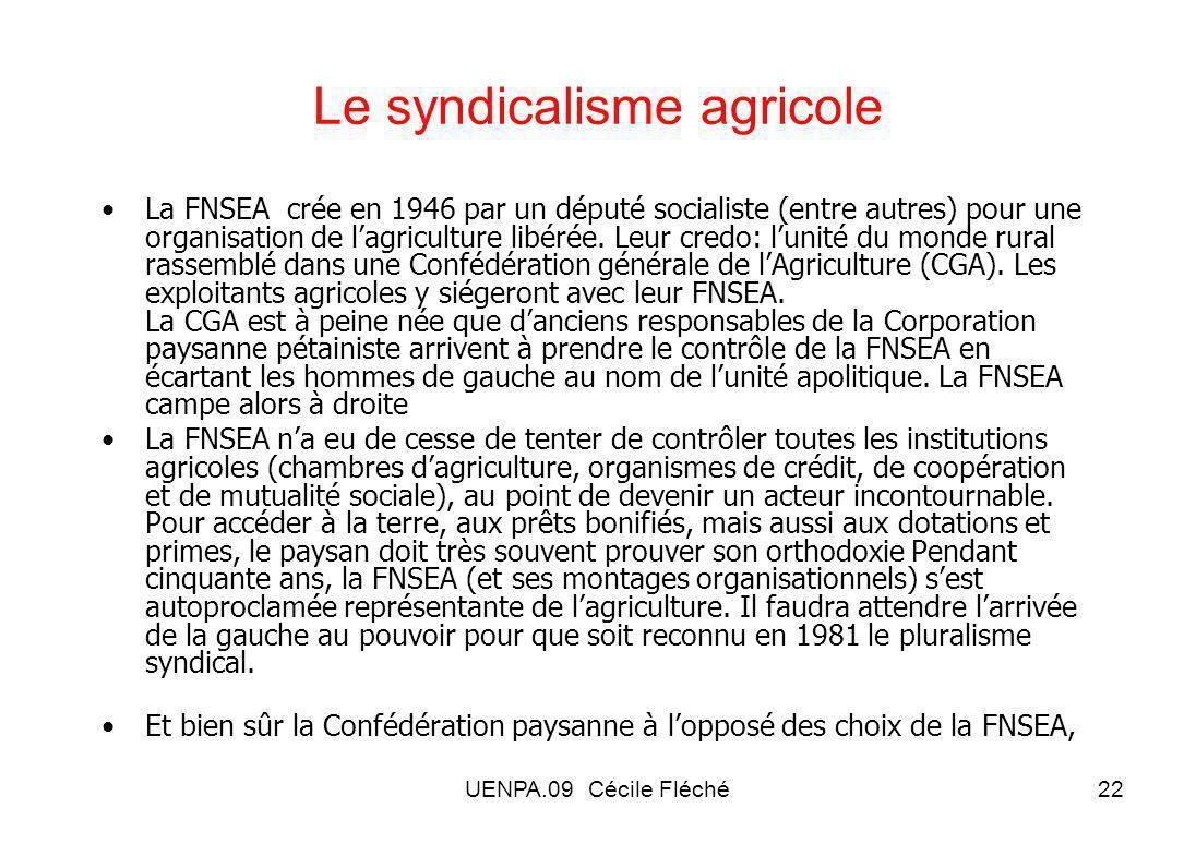 Le syndicalisme agricole