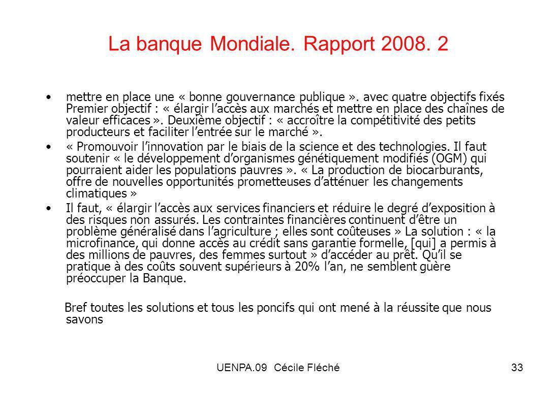 La banque Mondiale. Rapport 2008. 2