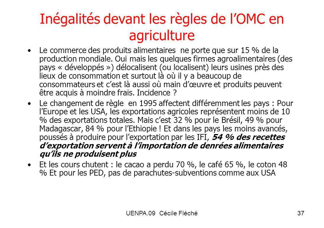 Inégalités devant les règles de l'OMC en agriculture