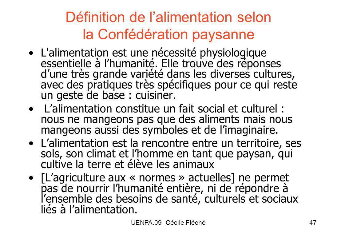 Définition de l'alimentation selon la Confédération paysanne