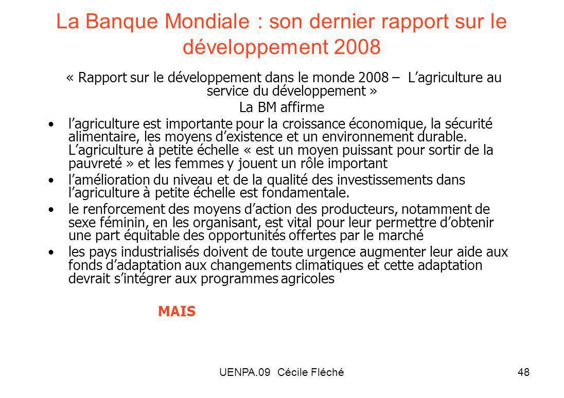 La Banque Mondiale : son dernier rapport sur le développement 2008