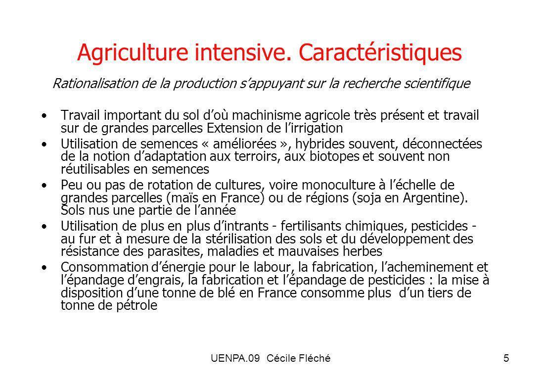 Agriculture intensive. Caractéristiques