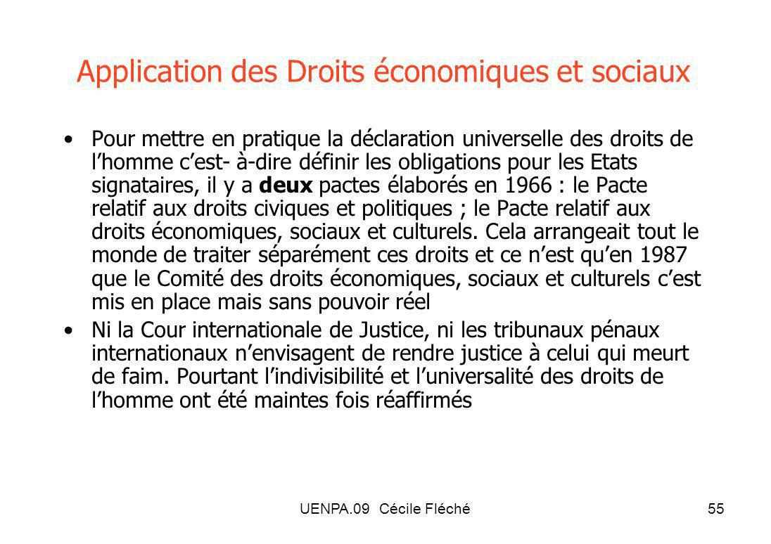 Application des Droits économiques et sociaux