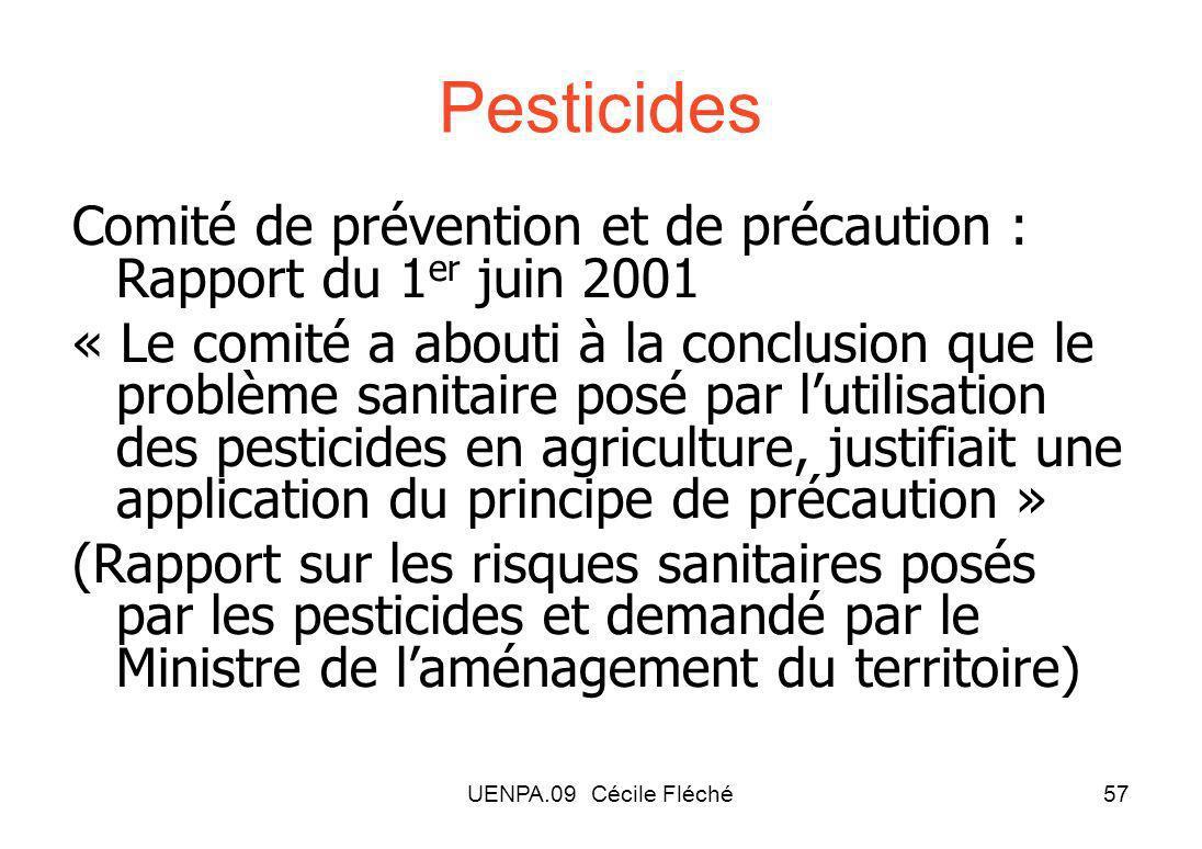 Pesticides Comité de prévention et de précaution : Rapport du 1er juin 2001.