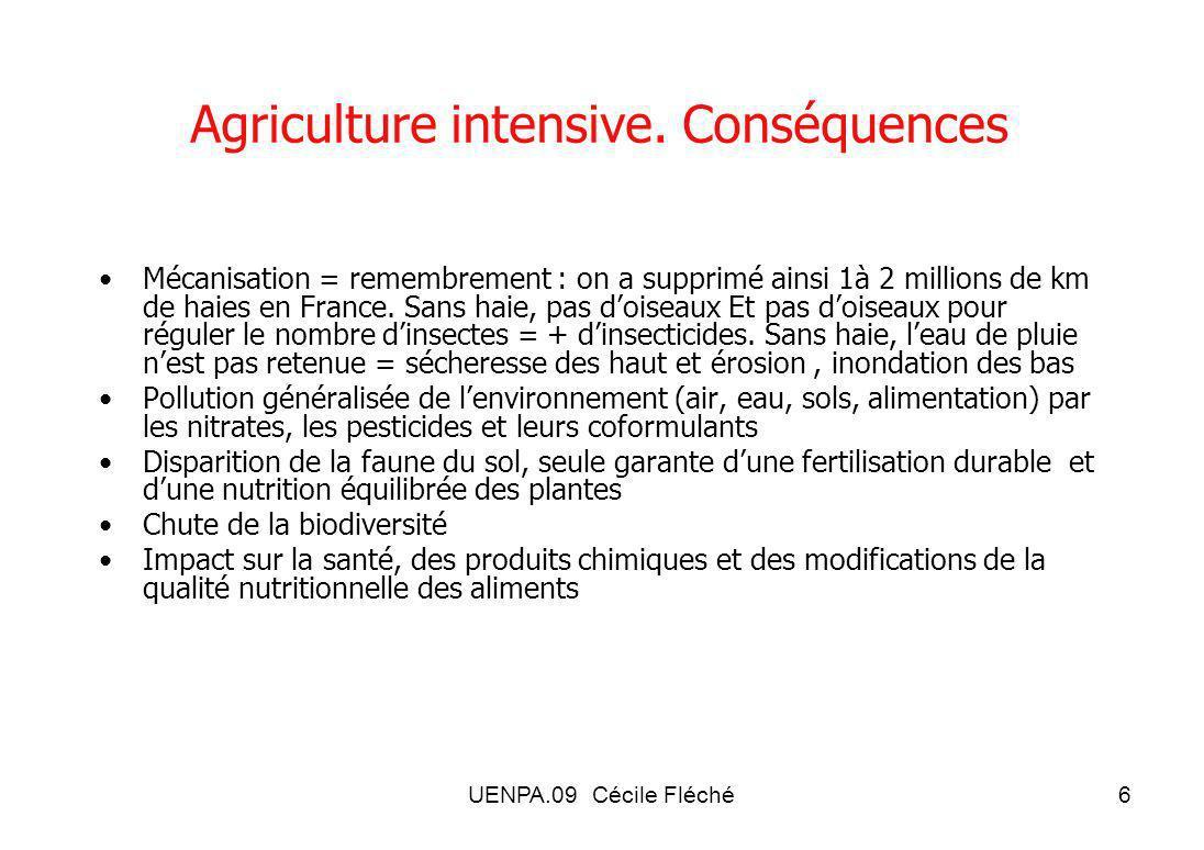 Agriculture intensive. Conséquences