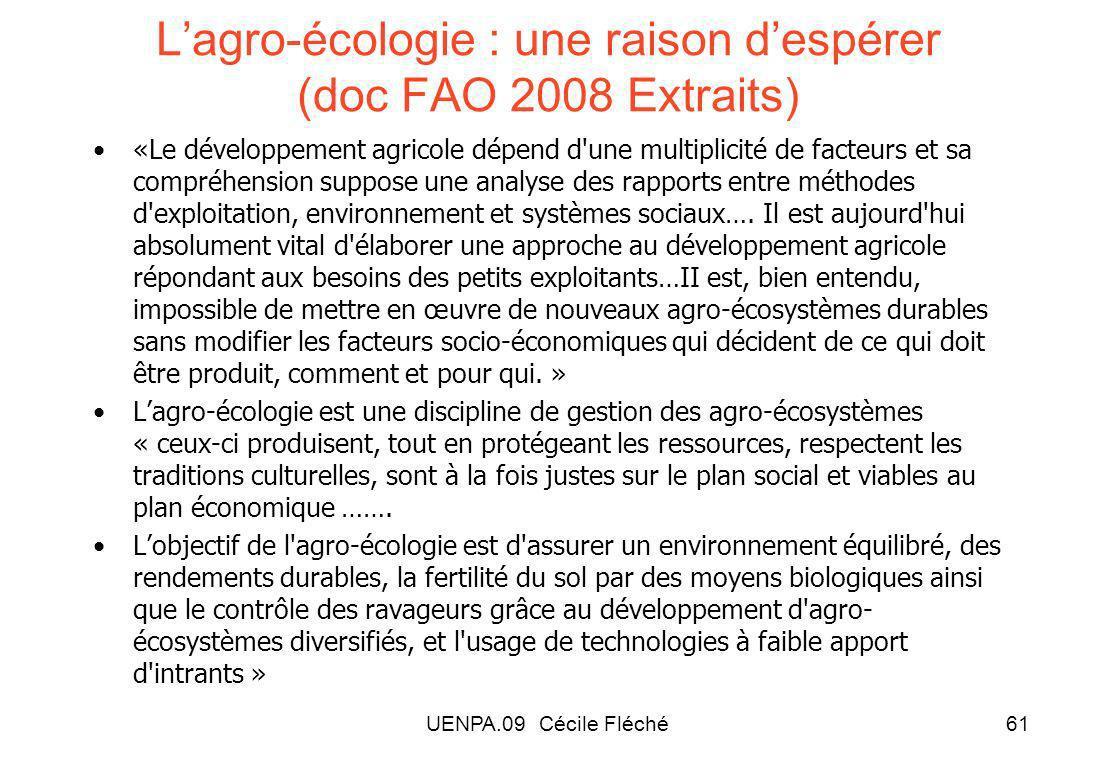 L'agro-écologie : une raison d'espérer (doc FAO 2008 Extraits)