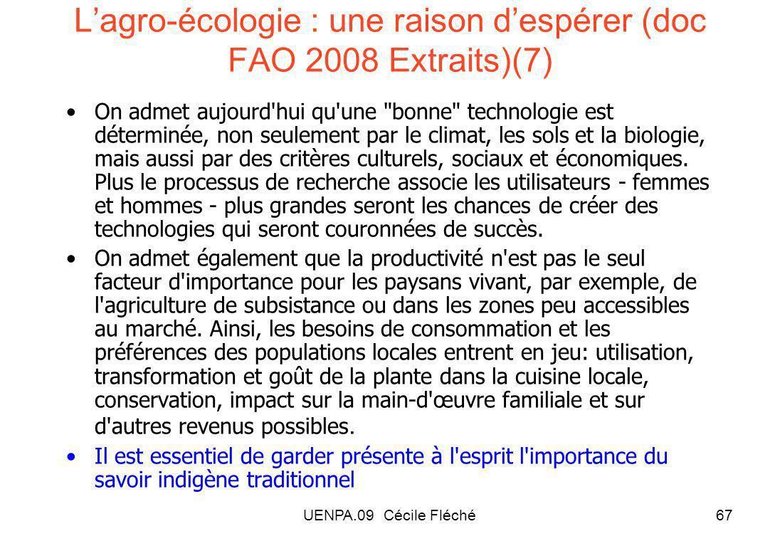 L'agro-écologie : une raison d'espérer (doc FAO 2008 Extraits)(7)