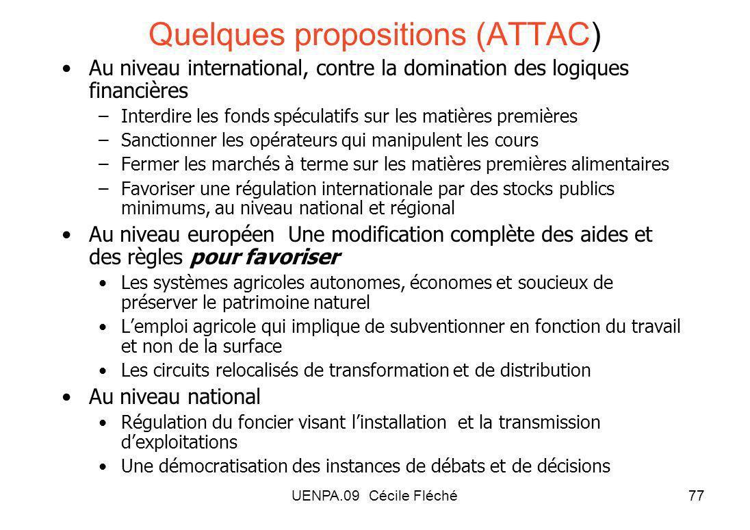Quelques propositions (ATTAC)