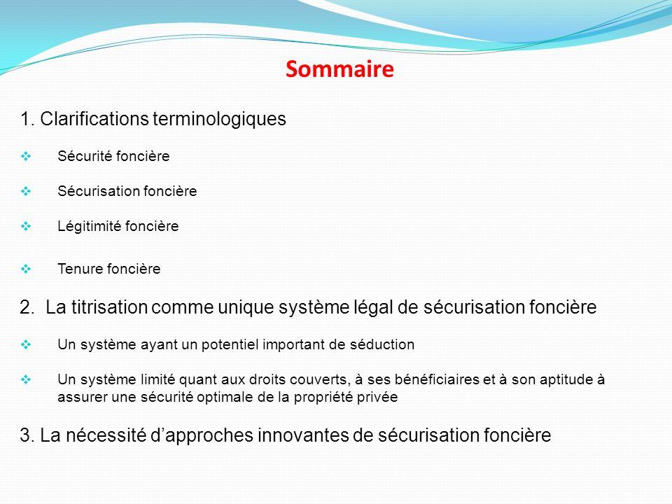 Sommaire 1. Clarifications terminologiques