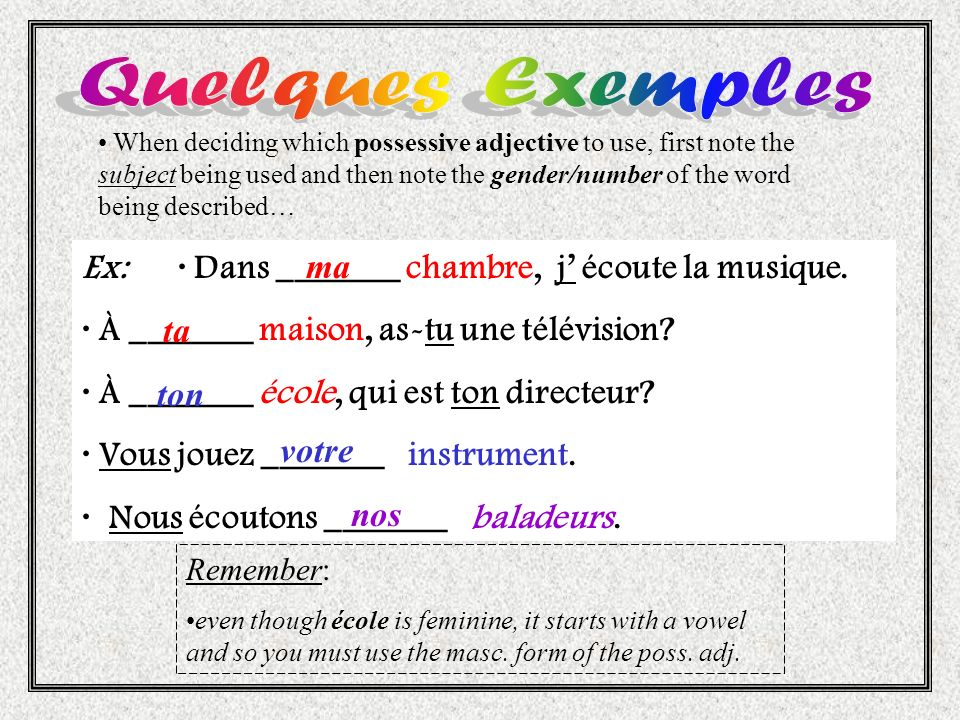 Quelques Exemples Ex: · Dans _______ chambre, j' écoute la musique.