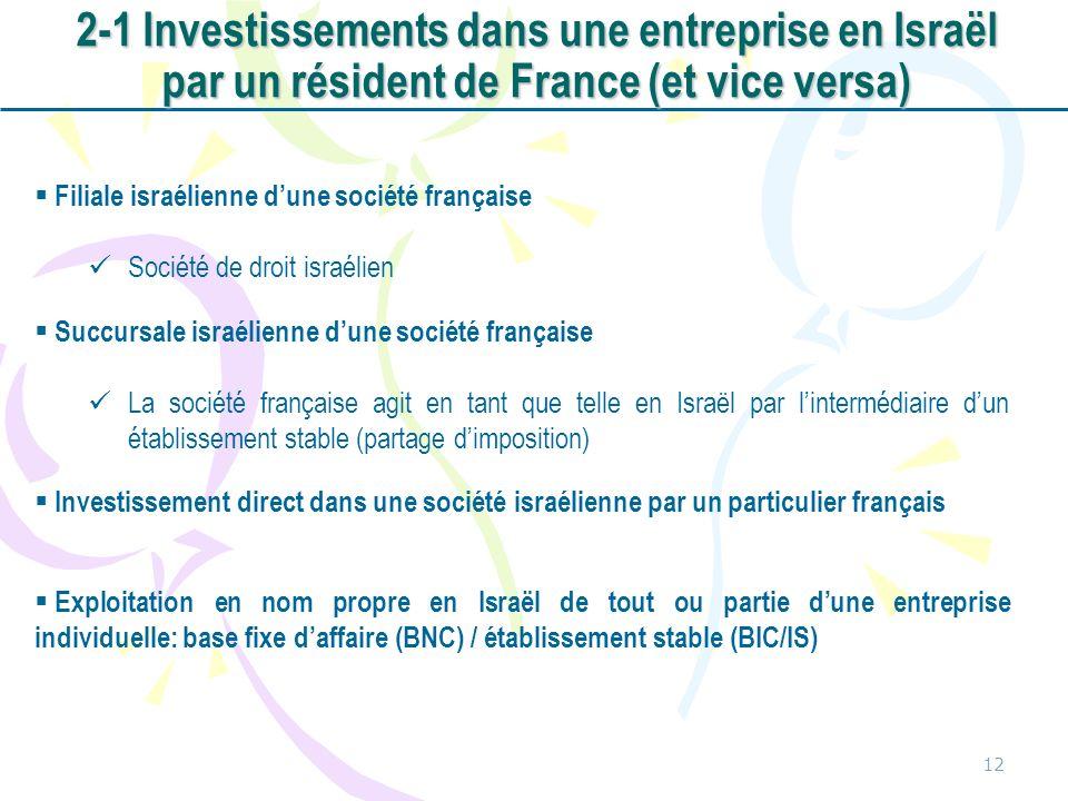 2-1 Investissements dans une entreprise en Israël par un résident de France (et vice versa)