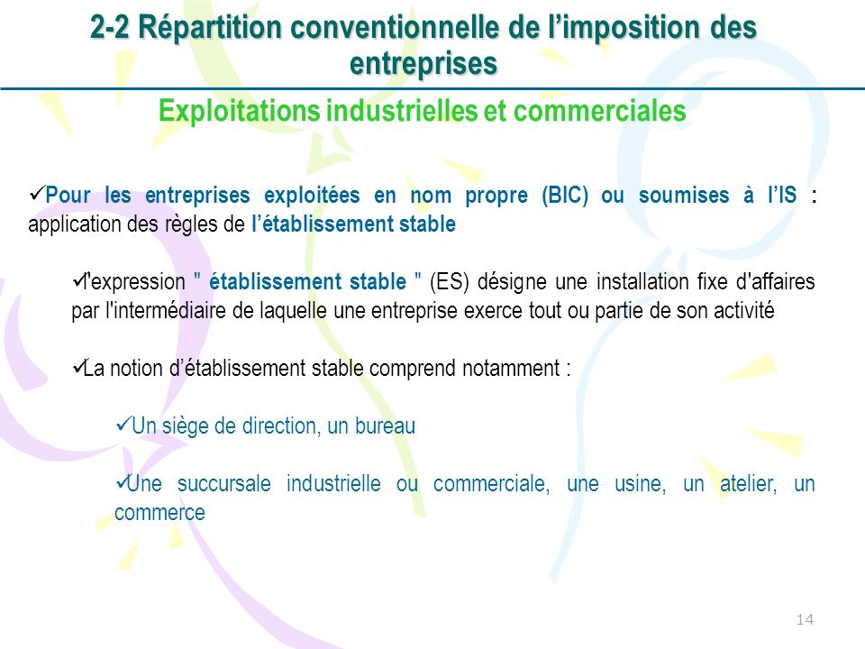 2-2 Répartition conventionnelle de l'imposition des entreprises