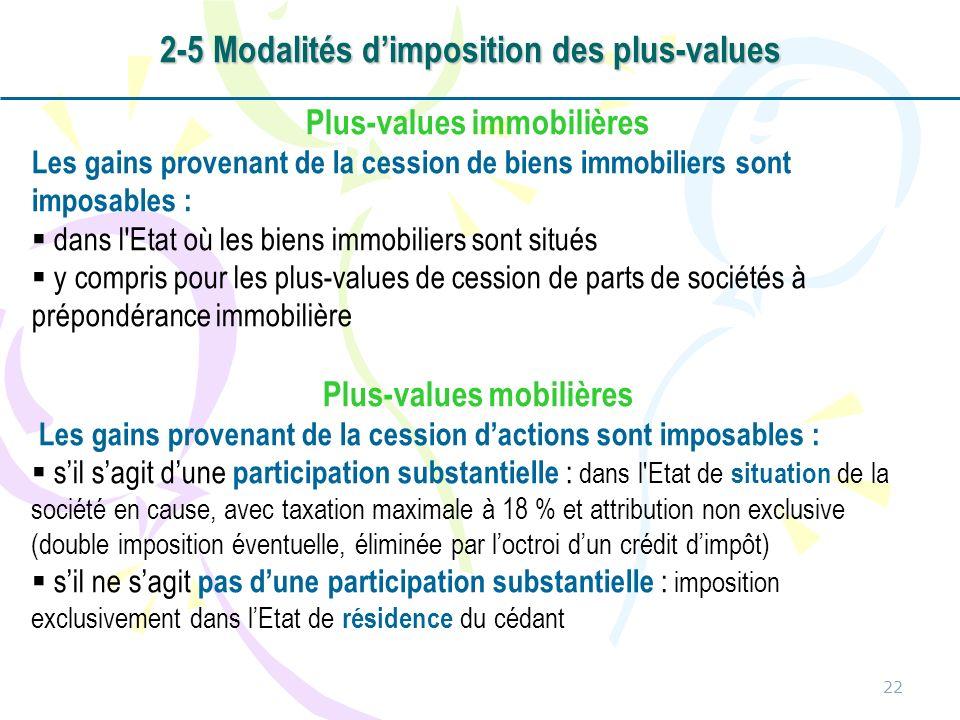 2-5 Modalités d'imposition des plus-values
