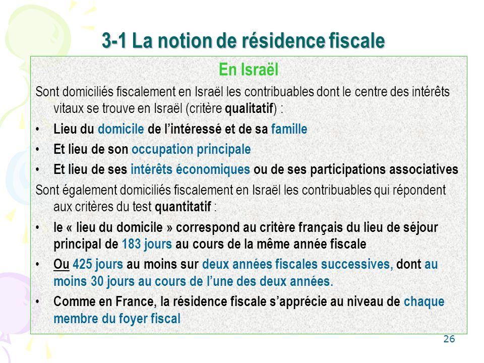 3-1 La notion de résidence fiscale