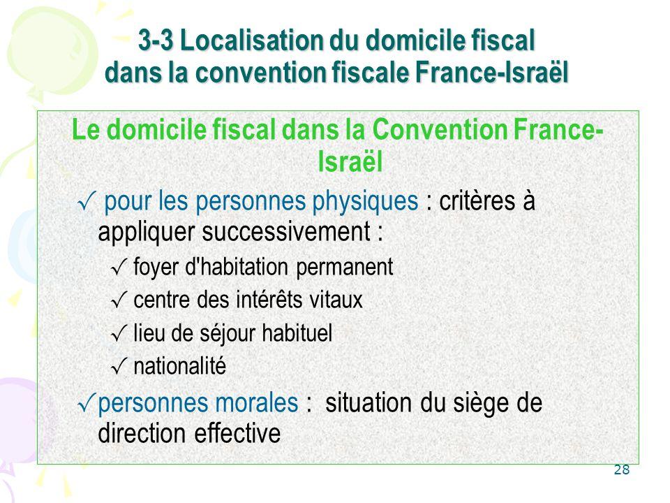Le domicile fiscal dans la Convention France-Israël