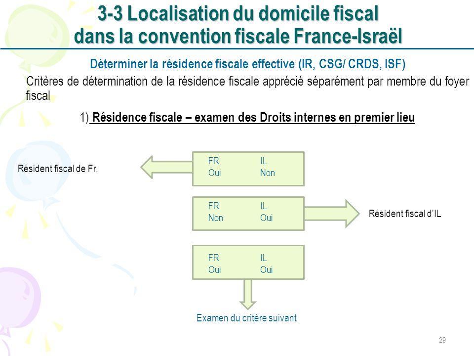 Déterminer la résidence fiscale effective (IR, CSG/ CRDS, ISF)