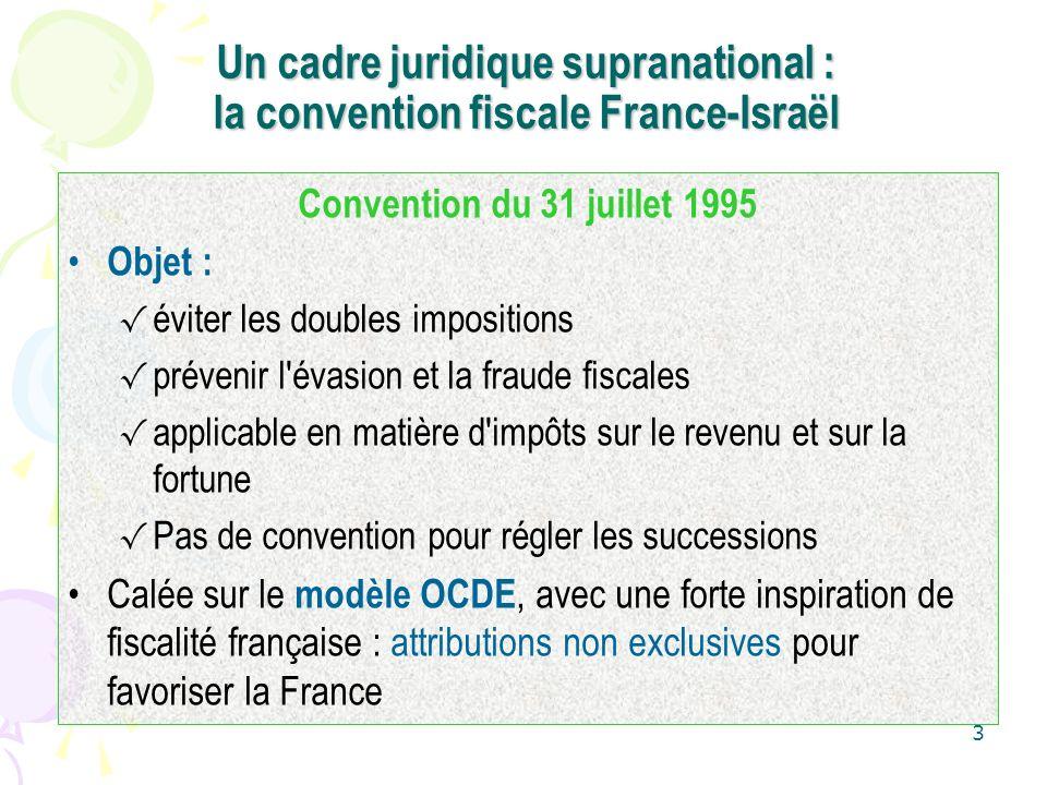 Un cadre juridique supranational : la convention fiscale France-Israël