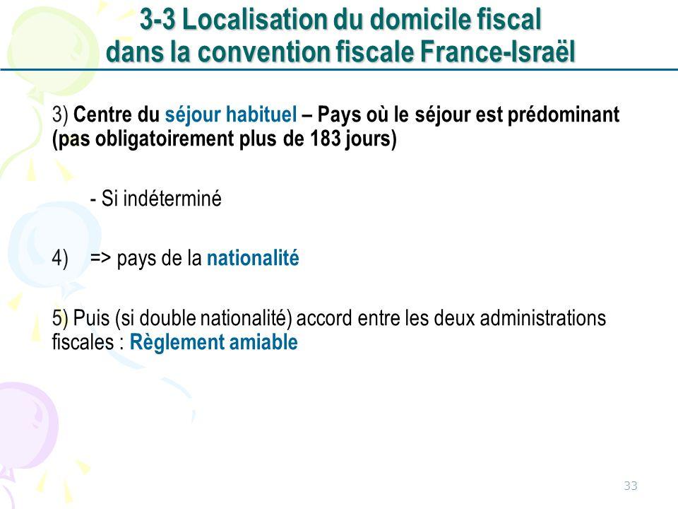 3-3 Localisation du domicile fiscal dans la convention fiscale France-Israël
