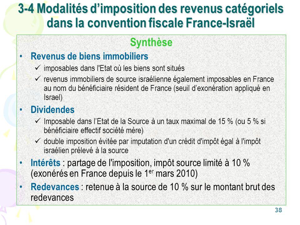 3-4 Modalités d'imposition des revenus catégoriels dans la convention fiscale France-Israël