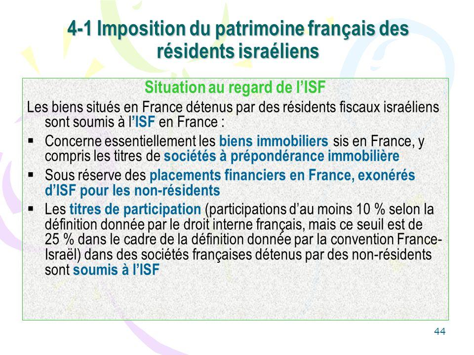 4-1 Imposition du patrimoine français des résidents israéliens