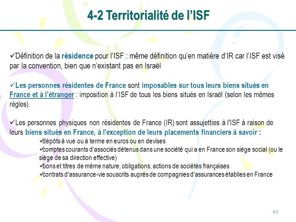 4-2 Territorialité de l'ISF
