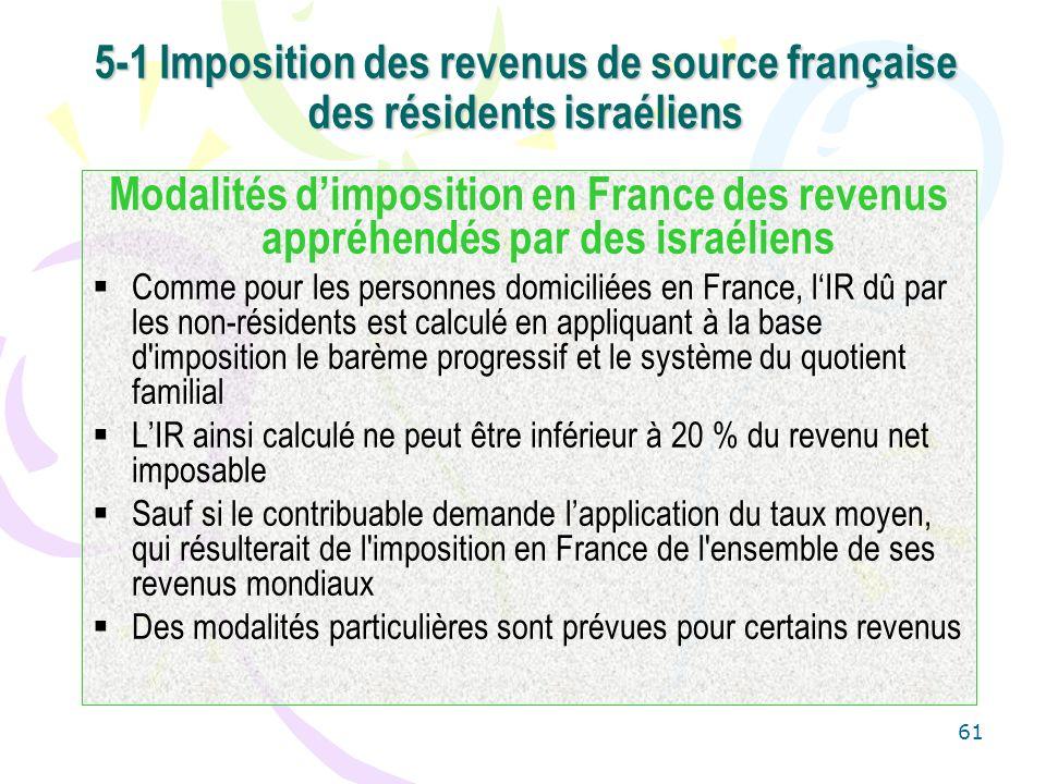 5-1 Imposition des revenus de source française des résidents israéliens