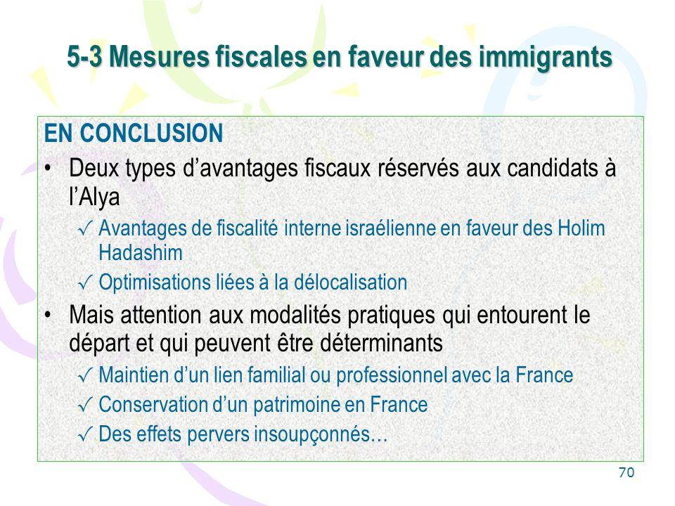 5-3 Mesures fiscales en faveur des immigrants