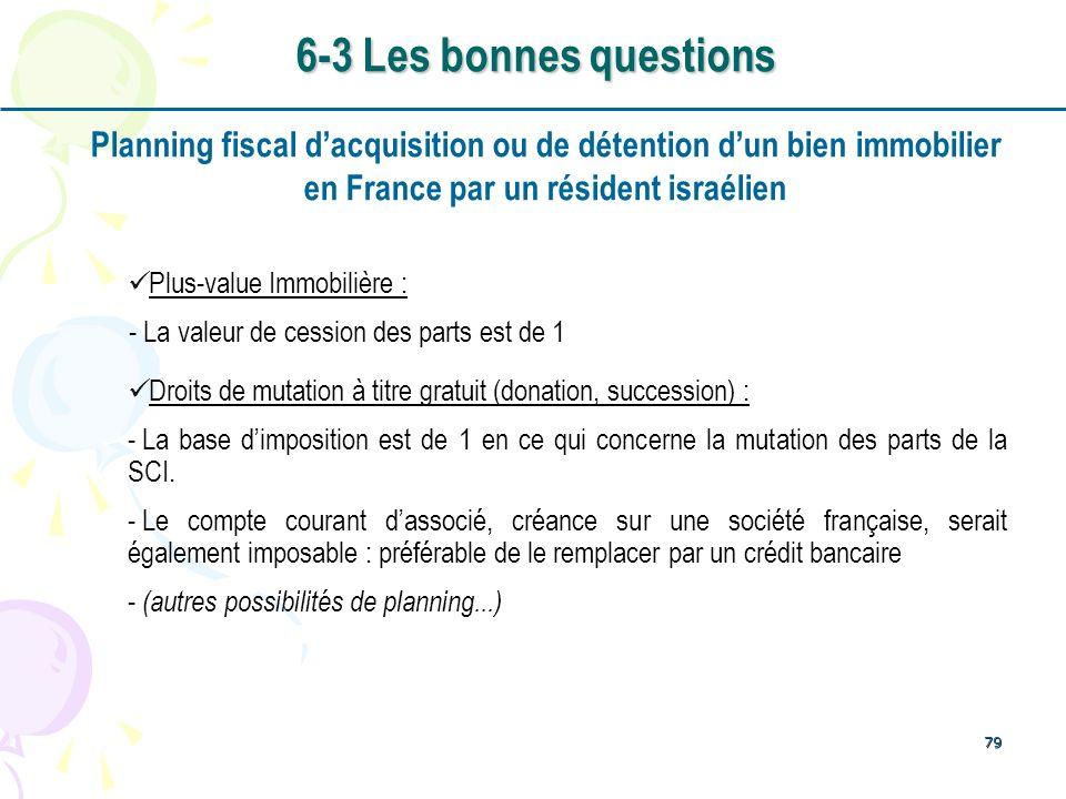 6-3 Les bonnes questions Planning fiscal d'acquisition ou de détention d'un bien immobilier. en France par un résident israélien.